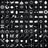 biały 100 ikon Zdjęcie Stock