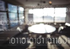 Biały binarny kod przeciw rozmytemu biuru Zdjęcie Royalty Free