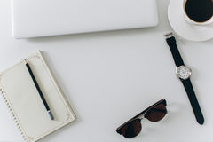 Biały biurowy desktop Obraz Royalty Free