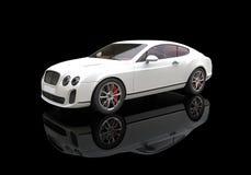 Biały Biznesowy samochód Na Czarnym tle Fotografia Stock