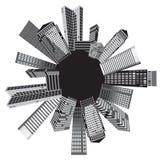 biały czarny miasta Obrazy Royalty Free