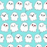 Biały emocjonalny ducha kawaii wzór obrazy royalty free
