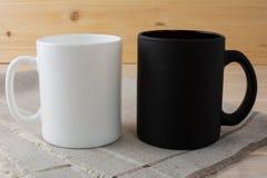 Biały i czarny kawowego kubka mockup Obraz Stock