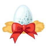 Biały jajko z czerwonym faborkiem, wektor ilustracja wektor