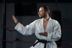 Biały karate wojownik Obraz Stock