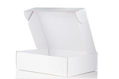 Biały karton otwarty Zdjęcia Stock