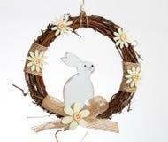 Biały królik w wianku Obraz Royalty Free