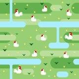 Biały kurczak na zieleni pola wzorze Obraz Royalty Free