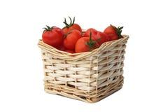 biały odosobneni czerwoni dojrzali pomidory Fotografia Stock
