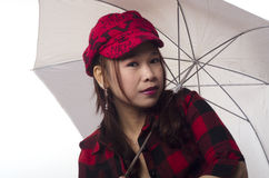 Biały parasol Fotografia Royalty Free