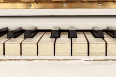 Biały pianoforte, frontowego widoku instrument, instrument muzyczny lea Obraz Stock