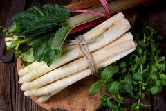 Biały rabarbar i asparagus Fotografia Stock