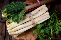 Biały rabarbar i asparagus Obrazy Royalty Free