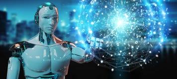 Bia?y robot tworzy odnawialn? i podtrzymywaln? eco energi? z elektrycznym sfery 3D renderingiem ilustracji