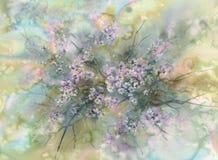 Bia?y Sakura kwiatu okwitni?cie na zielonej t?o akwareli royalty ilustracja