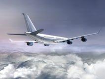 Biały samolot w chmurach Obraz Royalty Free
