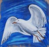 Biały seagull latanie w niebieskim niebie Zdjęcia Stock