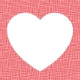 Biały serce na brezentowej teksturze Obrazy Royalty Free