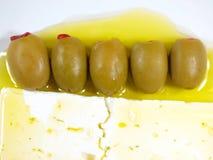 biały serowe oliwki Obrazy Stock