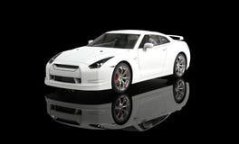 Biały sporta samochód na Czarnym tle Zdjęcia Stock