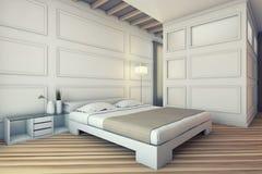 Biały sypialnia Obrazy Stock