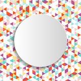Biały sztandar na geometrycznym wzorze Zdjęcia Royalty Free