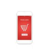 Biały telefon z mobilnym portfla onlain zakupy na ekranie Fotografia Royalty Free