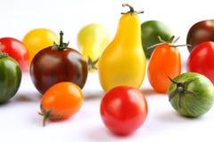 biały tkanina kolorowi pomidory Fotografia Stock