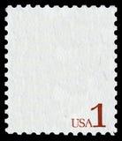 Biały znaczek pocztowy z writing usa 1 fotografia royalty free