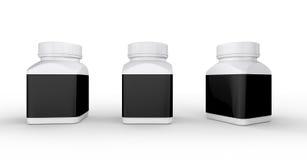 Biała plastikowa butelka z czarną etykietką pakuje, ścinek ścieżka ja Zdjęcia Stock