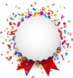 Biała round papieru notatka nad confetti Fotografia Stock