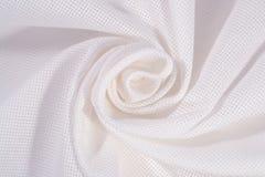 Biała zmięta bawełniana kanwa dla uszycia jako tło Zdjęcia Stock