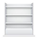 Białego gabloty wystawowej wiyh Puste półki Zdjęcia Stock