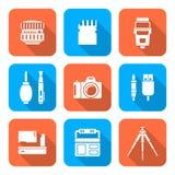 Białego koloru mieszkania stylu kwadrata cyfrowa fotografia wytłacza wzory ikony Obrazy Stock