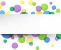 Białego papieru prześcieradło nad kolorów bąblami Zdjęcia Royalty Free
