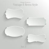 Białego papieru sztandary ustawiający w rocznika stylu Obraz Royalty Free