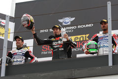 Biaggi Checa Giugliano Podium Misano 2012 Royalty Free Stock Photo