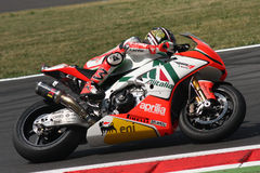Biaggi maximum Aprilia RSV4 Aprilia emballant l'équipe Photo libre de droits