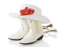 Biali Cowgirl boże narodzenia fotografia stock