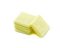 Biali czekolada kawałki na białym tle Zdjęcia Royalty Free