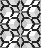 Biali 3d sześciany z heksagonalną siecią na bezszwowym wzorze ilustracji