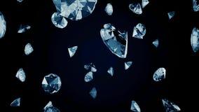 Biali diamenty spadają od wierzchołka dno na ciemnym tle, monochrom Abstrakt, biel, piękny kryształów spadać ilustracja wektor
