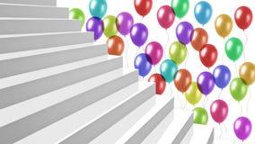 Biali glansowani schodki z kolorowymi balonami na tle Fotografia Royalty Free