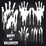 Biali handprints na chalkboard dla Halloween Fotografia Stock