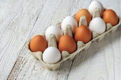 Biali i brown jajka w kartonie Fotografia Royalty Free