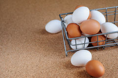 Biali i brown jajka w metalu koszu Fotografia Stock
