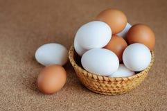 Biali i brown jajka w słomianym koszu Obraz Stock