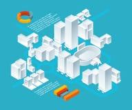 Biali isometric budynki Miastowy 3d krajobraz z różnorodnymi budynkami royalty ilustracja
