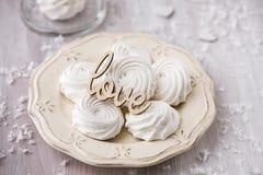 Biali jabłczani marshmallows, zephyr dla walentynki Obrazy Stock