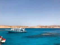Biali jachty, łodzie, statki żeglują w morze ocean z błękitne wody z rafami koralowa i t, przeciw tłu góry obraz royalty free